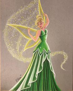 ✨✨Fancy Tink is finished! I had to crop the top of her wing in order to fit . Disney Princess Drawings, Disney Princess Art, Disney Fan Art, Disney Drawings, Disney Love, Disney Magic, Walt Disney, Tinkerbell Fairies, Disney Fairies