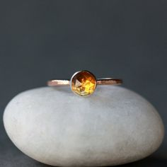 Citrine Ring, Rose Cut Citrine Ring, 14k Gold Ring, Hammered Gold Band, Gemstone Solitaire Ring, November Birthstone, Handmade Jewelry by ShopClementine