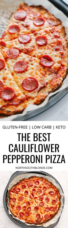 The best cauliflower pepperoni pizza recipe you will ever need to get your pizza fix without the guilt on a low carb ketogenic diet. It's gluten-free with tons of nutrients and perfect for weight loss. Pizza Recipes Pepperoni, Healthy Pizza Recipes, Easy Dinner Recipes, Easy Meals, Gluten Free Lasagna, Gluten Free Pizza, Gluten Free Recipes, Low Carb Recipes, Low Carb Breakfast