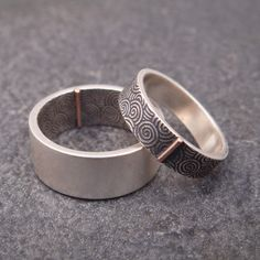 Opposites Attract Wedding Band Set -- Spiral Swirl Pattern in Sterling Silver with 14k Rose Gold Tab