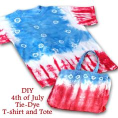 4th of July Tie-Dye T-Shirt and Tote #HandmadeFashion, #PatrioticCrafts, #TieDye http://www.ilovetocraft.com/painting/4th-of-july-tie-dye-t-shirt-and-tote.shtml I Love to CRAFT