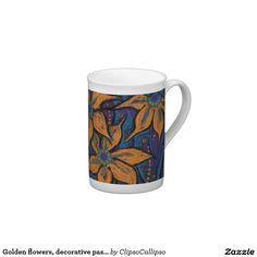 Golden flowers, decorative pastel painting, floral tea cup  #zazzle #porcelaine #tableware #flower #floral #floralfantasy #decorative #catchy #giftideas
