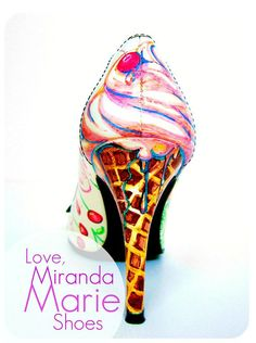 Hand Painted Bridal Shoes Cherry Ice Cream Heels