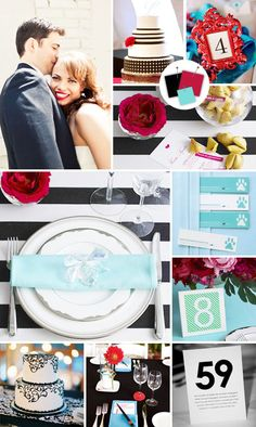 Black + Crimson + Robin's Egg  Good for: Casual modern weddings  Tips for pulling it off: Achieve high-style status with this totally of-the-moment color combo. Clean and simple decor paired with graphic and contemporary stationery design show off these colors in their best light.