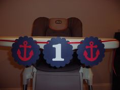 "Happy Birthday Banner, ""I am 1"" High Chair Banner - Nautical theme, anchor, ocean theme, sea theme, 1st birthday, first birthday,. $12.00, via Etsy."