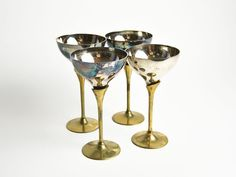 TAKE 10% OFF: Vintage French Set of 4 Tarnished Champagne Glasses by CandleLibrary
