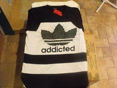 Black and White 2 tone ADDICTED marijuana urban, low rider elongated t-shirt.  #Victorious #GraphicTee