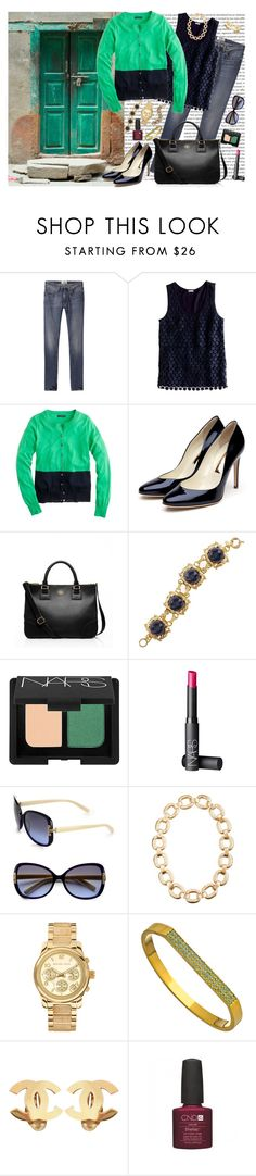 """Tippi Cardigan: Navy and Green"" by handbagaficionado ❤ liked on Polyvore featuring Oris, Acne Studios, J.Crew, Rupert Sanderson, Tory Burch, NARS Cosmetics, Michael Kors, Tiffany Chou, Chanel and skinny jeans"