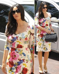 Monica Bellucci Style in Dolce & Gabbana Floral Dress | Fashion Week Design