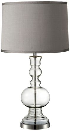 Platinum Grey Dupioni Clear Glass Vase Table Lamp. Opting for the same kind of base but with a white lamp shade since the office walls will be painted gray.