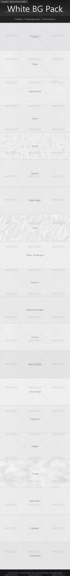 Buy Tileable White Background Pack by graphicmind on GraphicRiver. This pack contains 20 tileable white backgrounds. A black/darker version of each background is also included. Vector Pattern, Pattern Art, Pattern Design, Web Patterns, Graphic Patterns, Background Templates, Background Patterns, Web Design, Graphic Design