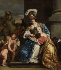 Allegorie op het onderwijs: Margarita Trip (1640-1714) haar zuster Anna Maria Trip (1652- 1681) onderwijzend, Ferdinand Bol, 1663