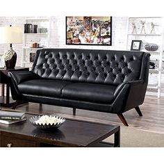 Furniture Of America Mayfield Tufted Leather Sofa In Black