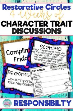 Conduct restorative circles in your classroom with these ready to use templates that are full of questions, discussion topics and ideas that can be used during circle time. This product stems around the character trait of responsibility and includes discu