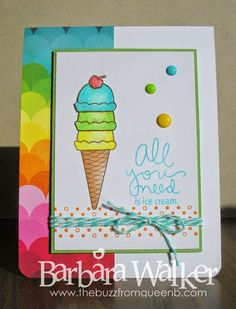 The Buzz: All You Need is Ice Cream card featuring products from the August 2014 #SimonSaysStamp monthly card kit. Image colored with #Prismacolor Pencils