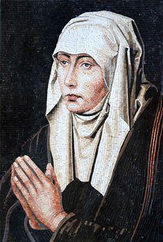 The Lady of Shalot portrait. Mosaic Design, Mosaic Art, Mosaic Tiles, The Lady Of Shalott, Mosaic Portrait, Stone Mosaic, Driftwood Art, Portraits, Face Art