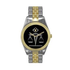 Scales of Justice - Monogrammed (v3) -  Must-Have wristwatch w/ Art Deco inspired silvery Scales of Justice set against a black background w/ custom text field for your monogram at 12:00. Together w/ this elegant stainless steel & gold metal strap & ribbed bezel, it's perfect for the lawyer, judge, law student, paralegal, etc. in your life!  See more lawyer gifts @ www.zazzle.com/lawyergifts+gifts?rf=238155573613991097&tc=pnt