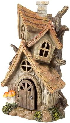 Large Fairy Garden House Three Story Resin 12 Inch with Door That Opens Garden Tree House, Fairy Tree Houses, Clay Fairy House, Gnome House, Fairy Garden Houses, Garden Trees, Clay Houses, Miniature Houses, House Lamp