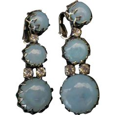 "Rare Vintage Signed ""Christian Dior by Kramer"" Blue Opaline Glass & Rhinestone Dangle Earrings"