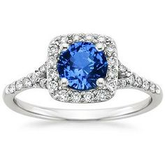 Round Sapphire Engagement Ring 1.32ct Halo Sapphire by blueriver47, $1980.00