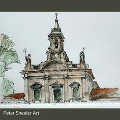 And the finished sketch of Igreja da Trindade. Painted on location in #Porto #Portugal  . Anne, our host in Portugal,  found me working on this piece and was surprised to see I did not use a pencil but started straight off in ink. #landscape #art #origina