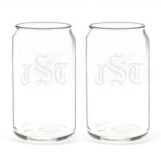 No more drinking out of the can for you! Can-shaped glasses are engraved to your specifications. Fun for the entire wedding party!
