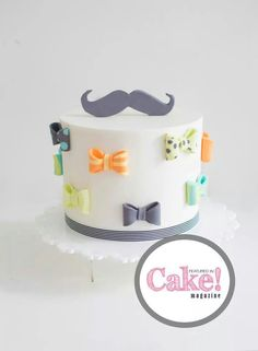 If you're a fan of fancy cakes, then you've come to the right place. These fifteen ultra cute cakes with bows are about as elegant as it gets (and as colorful! Any cake can look dressed up when i. Baby Cakes, Baby Shower Cakes, Baby Boy Shower, Cupcake Cakes, Beautiful Cake Pictures, Beautiful Cakes, Amazing Cakes, Pretty Cakes, Cute Cakes