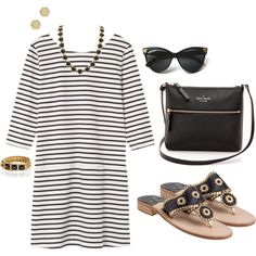 A fashion look from August 2014 featuring Jack Rogers sandals, Kate Spade shoulder bags and Rebecca Minkoff bracelets. Browse and shop related looks.