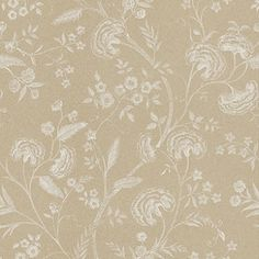 Liana (LIANAWAL/005) - Blendworth Wallpapers - An elegant, all over floral trailing design with metallic highlights. Shown here in off white and metallic gold. Other colourways are available. Please request a sample for a true colour match. Paste-the-wall product.