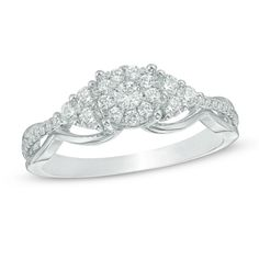 Shop for CT. Composite Diamond Tri-Sides Engagement Ring in White Gold at Zales - CT. Composite Diamond Tri-Sides Engagement Ring in White Gold Engagement Ring Styles, Engagement Couple, Diamond Engagement Rings, Diamond Stores, Diamond Art, Fashion Rings, Ring Designs, Natural Diamonds, Wedding Rings