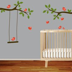 Nursery wall decal branch with red birds,swing,white wall decal sticker on Etsy, $68.36 CAD