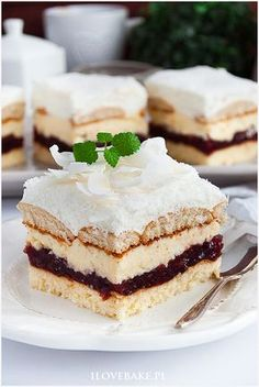 Ciasto Bajeczne - I Love Bake Just Desserts, Delicious Desserts, Yummy Food, Baking Recipes, Cake Recipes, Low Carb Side Dishes, Polish Recipes, Christmas Baking, Baked Goods