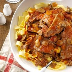 """Saucy Italian Roast ~ """"This tender roast is one of my favorite fix-and-forget meals,"""" says Jan Roat of Red Lodge, Montana. """"I thicken the juices with a little flour and add ketchup, then serve the sauce and beef slices over pasta."""""""