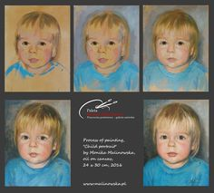 Stagest of child portrait painting, oil on canvas