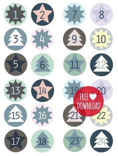 DIY - Blue labels for the advent calendar Christmas Calendar, Christmas Countdown, Winter Christmas, Christmas Holidays, Christmas Crafts, Advent Calenders, Diy Advent Calendar, Printable Calendar Template, Free Printables