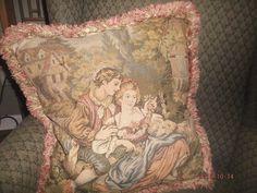 """Vintage French needlepoint & velvet pillow~Renaissance lovers 19""""x20"""" tapestry"""