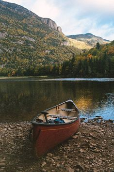 The boat at the lake in the mountain forest. A day with the nature 2018