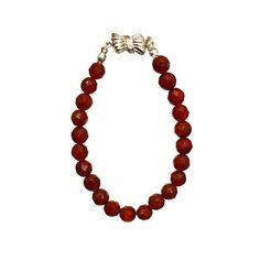 Carnelian Red Faceted 8mm Round , Threaded Bracelet- Handmade - Natural Stones - Jewelry - FREE SHIPPING de ArtGemStones en Etsy