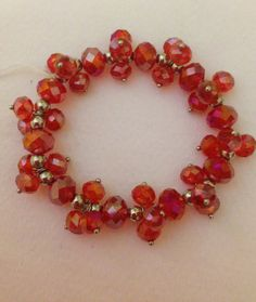 Holiday Red Crystal Cluster stretch bracelet by CCMExpressions on Etsy
