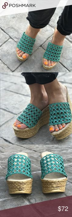 "Turquoise Braided Wedge Slide Sandal Rock a ravishing look in these. Braided details set off the wedge heel, while textured accents lend a trendy touch to the thick strap. One band slide on wedge.  Textile upper Turquoise  Slip-in design Textured outsole Wedge Height: 4""  Platform measures approximately 0.75 inches padded insole. Rubber sole. soft leather sock made in usa. unlined upper. Sbicca X Anthropologie Anthropologie Shoes Wedges"