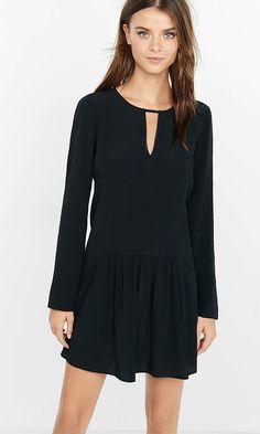 long sleeve drop waist shift dress
