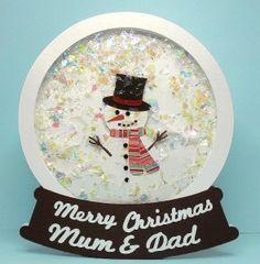 snowglobe card with templates #holidaycard #Christmas #snowman