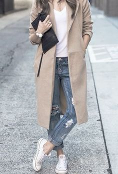 Street look, jeans, tee and coat - LadyStyle