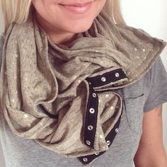 Handmade Sand and gold dot Snap button infinity scarf. Available through 3 Stars North. xx
