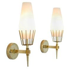 Arredoluce Attributed Sconces - Antique Sconces & Wall Lights  ----  Designer: Possibly Angelo Lelii ----  Country: Italy  ----  Period: c. 1950's ----   ----  Condition: Good. Aged appropriately. ----  Finish: Brass and glass.