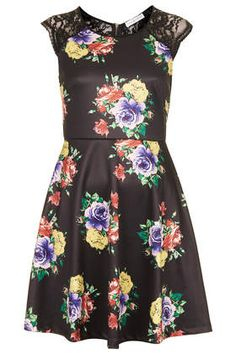 **Floral Printed Skater Dress by Rare