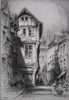 Buy online, view images and see past prices for Albany Howarth (British ''Rue St. Invaluable is the world's largest marketplace for art, antiques, and collectibles. Landscape Sketch, Landscape Drawings, Architecture Drawings, Abstract Landscape, Pencil Art Drawings, Art Sketches, Horse Drawings, Animal Drawings, Painting Corner