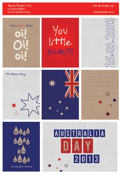 Project Life Australia Day Free Printable 3x4cards