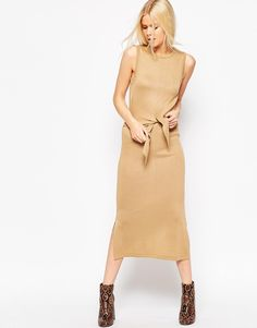 Image 1 ofASOS Midi Dress In Knit With Tie Front Detail