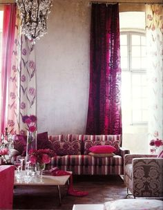 Romantic living room by Tricia Guild.Designers Guild Fabrics and wallpapers can be purchased through www.janehalldesign.com